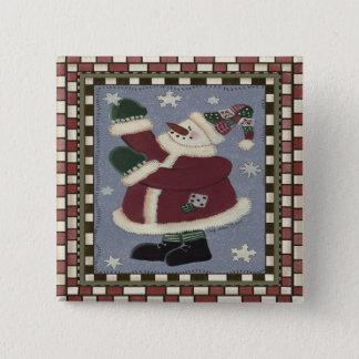 Santa Snowman 15 Cm Square Badge