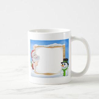 Santa Snowman Snow Scene Coffee Mug