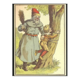 Santa Spanking a Naughty Boy Postcard