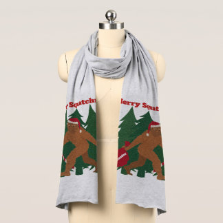 Santa Squatch Funny Personalized Ugly Christmas Scarf
