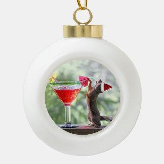 Santa Squirrel Drinking a Cocktail Ornament