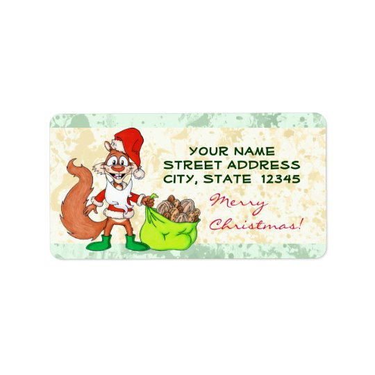 Santa Squirrel Label