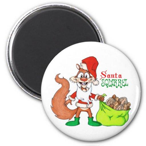 Santa Squirrel Fridge Magnet