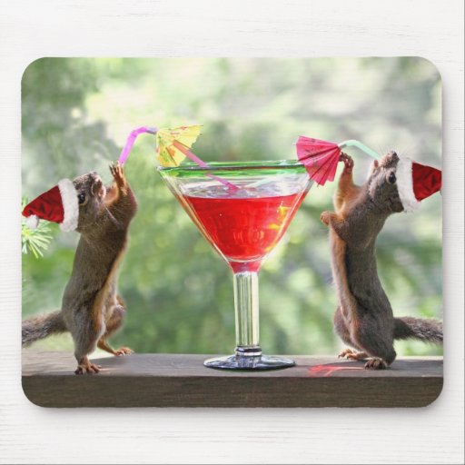 Santa Squirrels Drinking a Cocktail Mouse Pads
