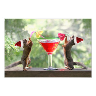 Santa Squirrels Drinking a Cocktail Photo