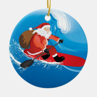 Santa Stand Up Paddle Ceramic Ornament