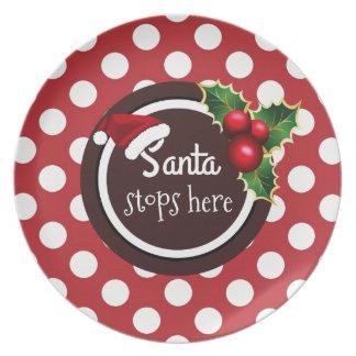 """Santa Stops Here"" Christmas Cookie Plate"