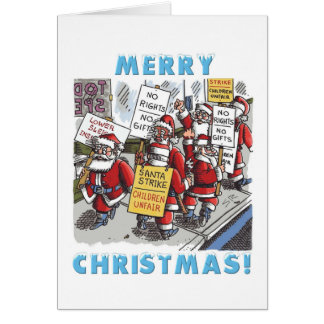 Santa Strike cartoon Christmas greeting card