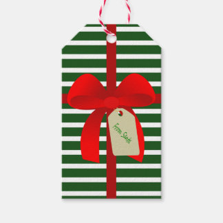 Santa Stripes Gift Wrap Bow Personalised Gift Tags