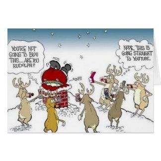 Santa Stuck in Chimney Reindeer Blogging Christmas Card