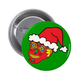Santa Sugar Skull Button