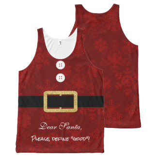 Santa Suit Christmas funny typography All-Over Print Singlet