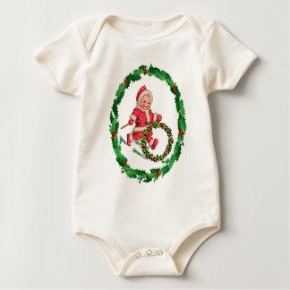 SANTA SUIT & HOLLY WREATH by SHARON SHARPE Baby Bodysuit