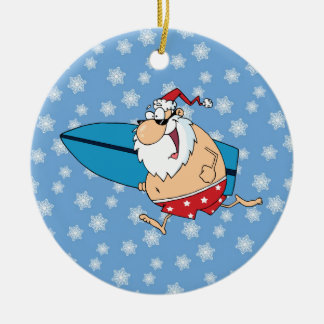 santa surfing ceramic ornament