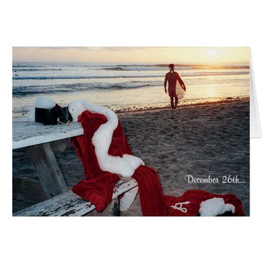 Santa surfs the day after Christmas Cards