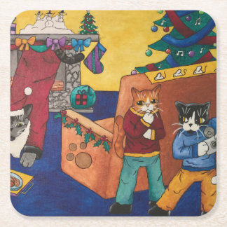 Santa Surprise Square Paper Coaster
