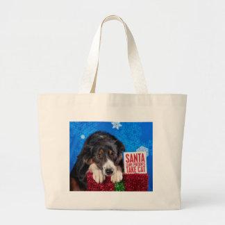 Santa take cat large tote bag