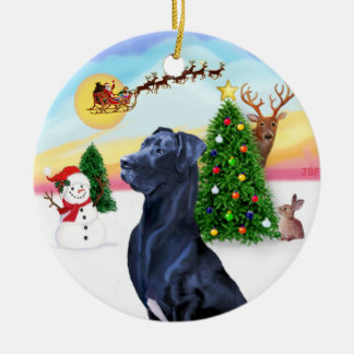 Santa Takes Off - Blue Great Dane (natural ears) Round Ceramic Decoration