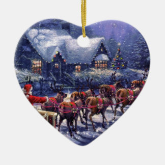 Santa Takes Off In His Sleigh Christmas Eve Ceramic Heart Decoration
