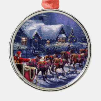 Santa Takes Off In His Sleigh Christmas Eve Silver-Colored Round Decoration