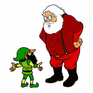santa talking to elf standing photo sculpture