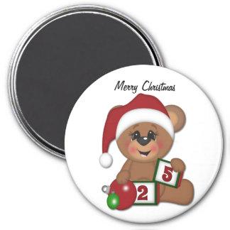 Santa Teddy Bear 7.5 Cm Round Magnet