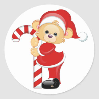 Santa Teddy Bear and Candycane Classic Round Sticker