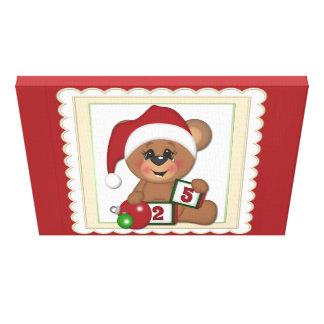 Santa Teddy Bear Canvas Prints