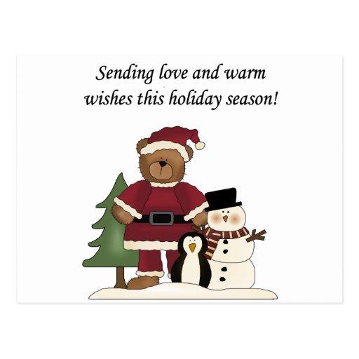 Santa Teddy Bear Card Postcard