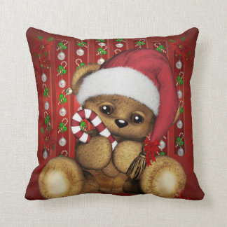 Santa Teddy Bear with Candy Cane Cushion