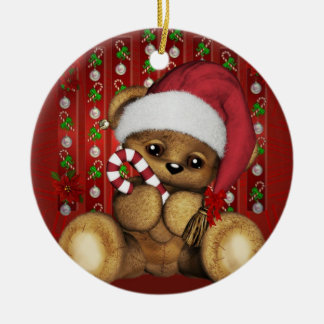 Santa Teddy Bear with Candy Cane Ornaments