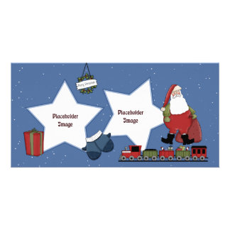 Santa, train, gift and Christmas wreath Personalized Photo Card