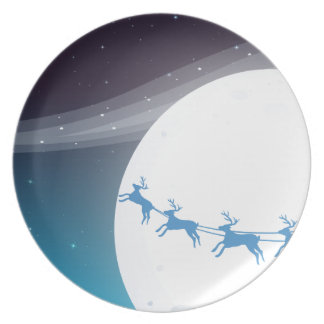 Santa travelling with his reindeers party plate