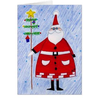 santa & tree branch card