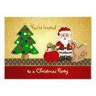 Santa, tree, presents Kids Christmas Party Card