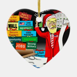 Santa Trump Ceramic Heart Decoration