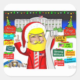 Santa Trump Ho Ho Ho Square Sticker