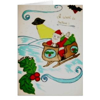 Santa ufo I want to Believe holiday card