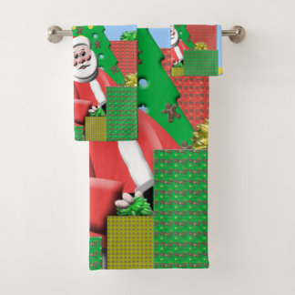 Santa Under The Christmas Tree Bath Towel Set