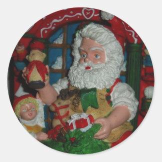 Santa Visits Round Sticker