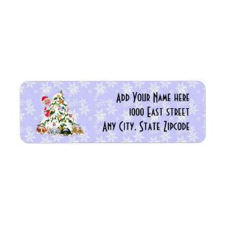 Santa w/Aussie Puppies Under the Tree Return label