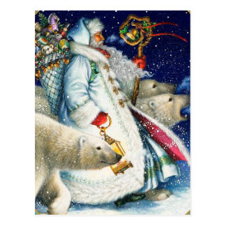 Santa Walking With Polar Bears Postcard