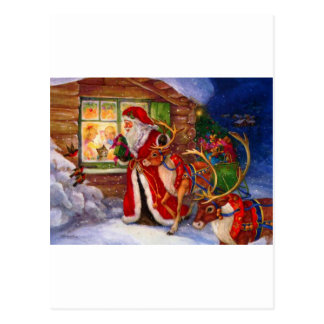 Santa Watches As Presents Are Opened Postcard