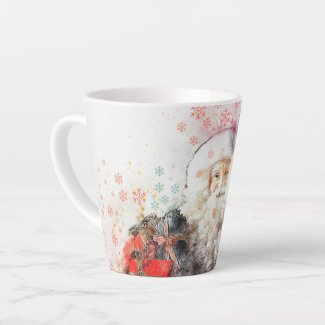Santa Watercolor Christmas Latte Mug