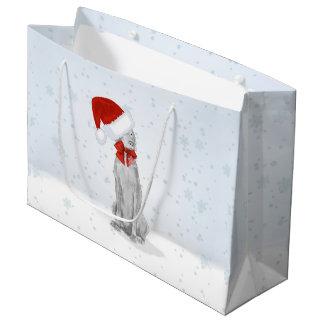 SANTA WEIMARANER IN THE SNOW GIFT BAG