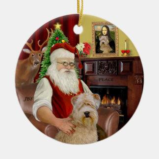Santa-Wheaten Terrier Ceramic Ornament