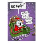 """Santa """"Who Farted?!"""" Cartoon Christmas Card"""