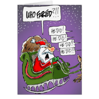 "Santa ""Who Farted?!"" Cartoon Christmas Card"