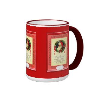 Santa with a Christmas poem Ringer Coffee Mug