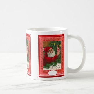 Santa with a Christmas tree gift Classic White Coffee Mug